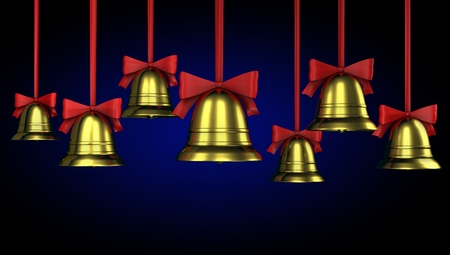 A lot of Christmas bells with red ribbons on a blue gradient background photo
