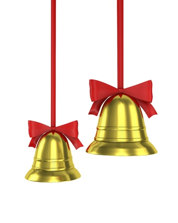 Two Christmas bells with red ribbons isolated on white background photo