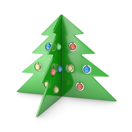 Abstract plastic pine tree isolated on white background photo