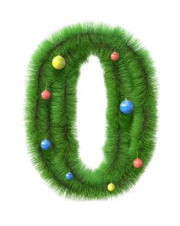 0 number made of christmas tree branches isolated on white background photo