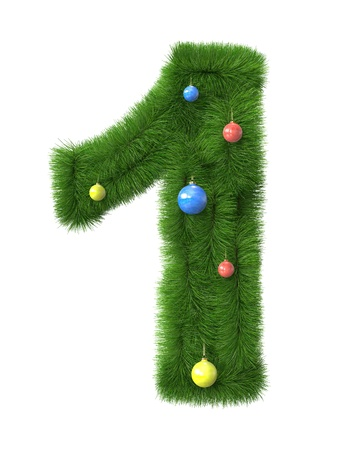 2 number made of christmas tree branches isolated on white background photo