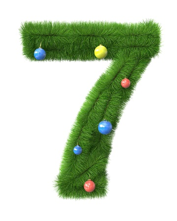 seven years: 7 number made of christmas tree branches isolated on white background