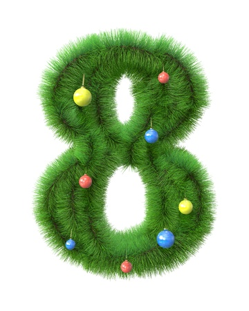8  number made of christmas tree branches isolated on white background photo