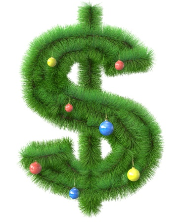 Dollar symbol made of christmas tree branches isolated on white background
