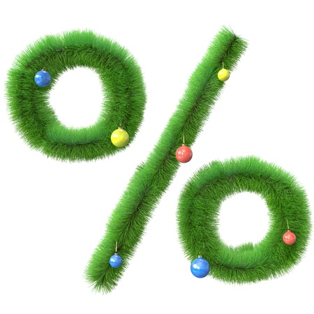 Percent symbol made of christmas tree branches isolated on white background photo