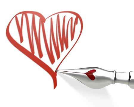 nib: Metal ink pen nib draws heart isolated on white background