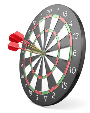 Three red darts hit center of board, isolated on white background Stock Photo - 12072775