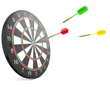 Three darts arrows flying into board, isolated on white background photo