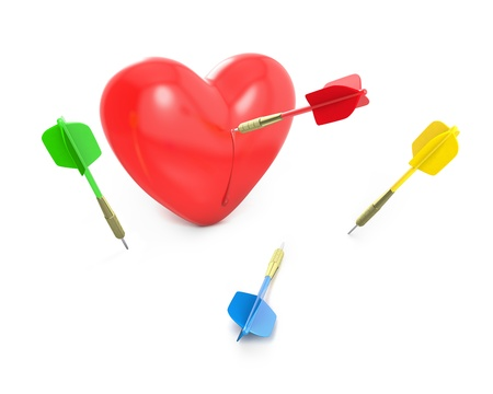 love target: One dart hit the red heart, isolated on white background