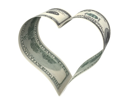 spending money: Heart made of two dollar papers, isolated on white background