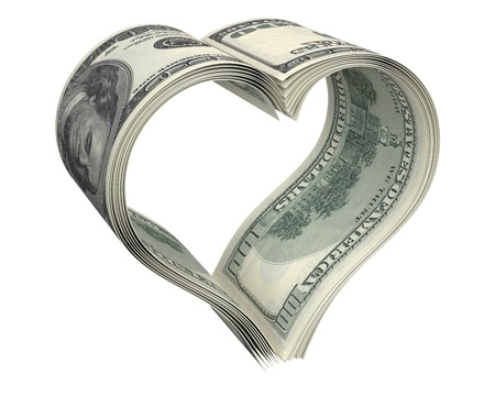 paid: Heart made of few dollar papers, isolated on white background