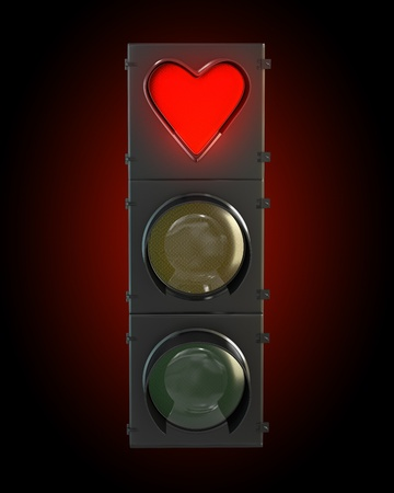 Traffic light with heart shaped red lamp  photo