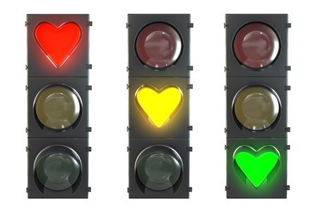 Set of traffic light with heart shaped red, yellow and green lamps isolated on white background