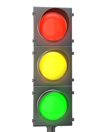 Traffic light with red, yellow and green lights isolated on white background photo