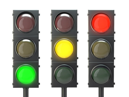 Set of traffic lights with red, yellow and green lights isolated on white background photo