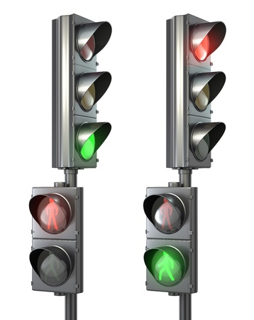 Set of pedestrian light lights with walk and go lights, isolated on white background Фото со стока
