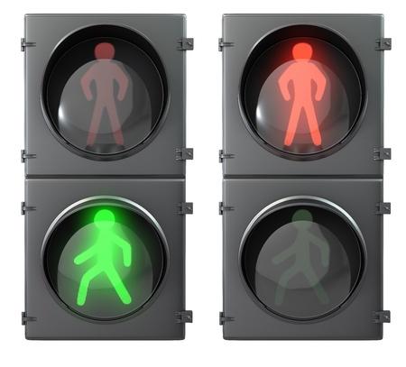 se�ales transito: Juego de luces de peatones con luz a pie e ir las luces, vista frontal, aislados sobre fondo blanco