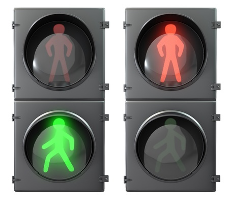 pedestrian crossing: Set of pedestrian light lights with walk and go lights,front view, isolated on white background Stock Photo