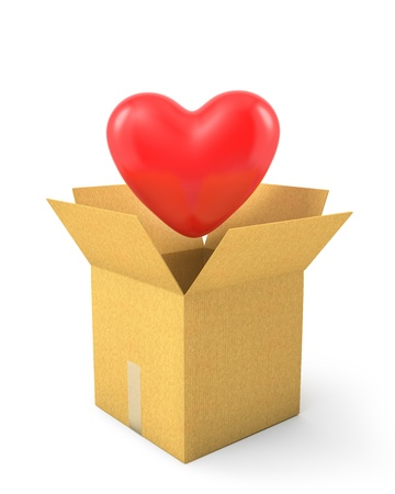 Read heart fly out of carton box, isolated on white background