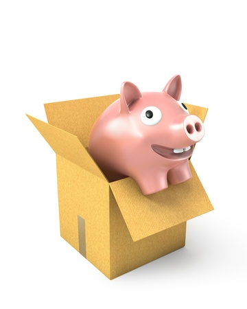 overflow: Piggy bank in a carton box, isolated on white background Stock Photo