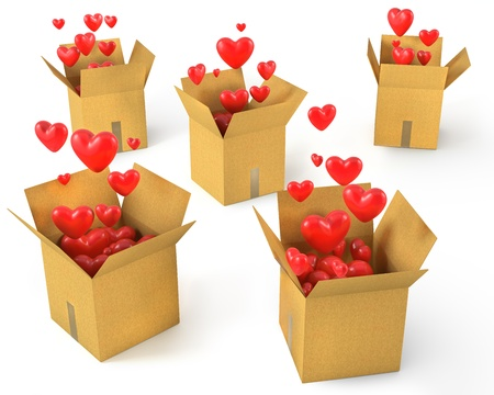 feels: A lot of carton boxes with red hearts flying out of them, isolated on white background Stock Photo