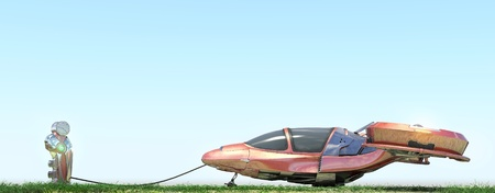 Futuristic flying car at gas station on blue background photo