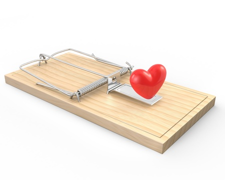 Mouse trap with a red heart, isolated on white background  Stock Photo - 12304385