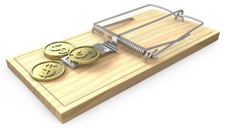 fraudulent: Few golden coins on a mouse trap, isolated on white background