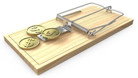 robo: Pocas monedas de oro en una trampa para ratones, aisladas sobre fondo blanco Foto de archivo