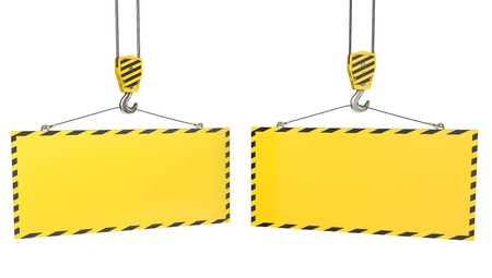 Two crane hooks with blank yellow plates, isolated on white background Stock Photo - 12304397