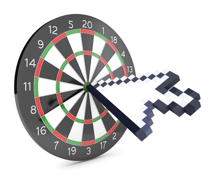 Arrow cursor hits the dartboard, isolated on white background Stock Photo - 12304428