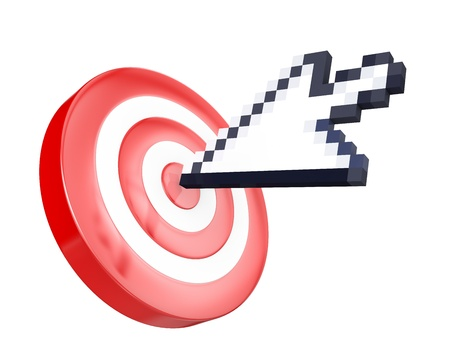 Arrow cursor hits the target, isolated on white background Stock Photo - 12304426