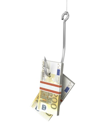 Pack of euro on a fishing hook, isolated on white background photo