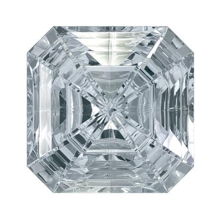 Asscher Cut Diamond isolated on black background  Standard-Bild