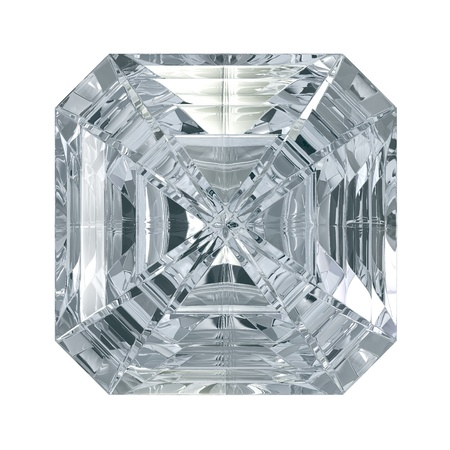 octagonal: Asscher Cut Diamond isolated on black background  Stock Photo