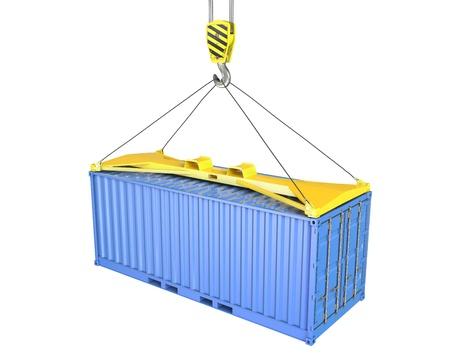 seafreight: Contenedor de carga izada en spreader, aisladas sobre fondo blanco
