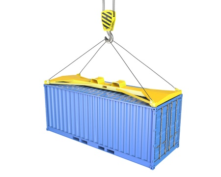 seafreight: Freight container hoisted on container spreader, isolated on white background Stock Photo