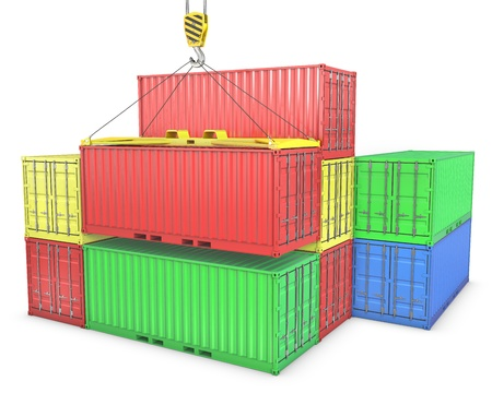 lift lock: Group of freight containers, isolated on white background