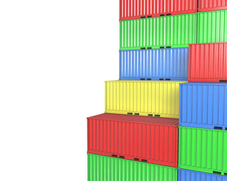 seafreight: Group of freight containers, with blanks space, isolated on white background Stock Photo