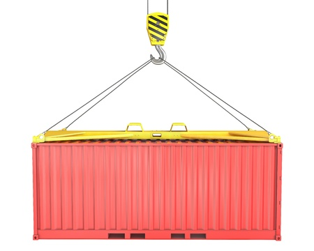 lift lock: Freight container hoisted on container spreader, isolated on white background Stock Photo