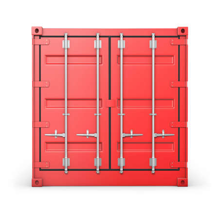 seafreight: �nico contenedor de color rojo, vista frontal, aislados en fondo blanco Foto de archivo