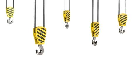 Few crane hooks, isolated on white background photo