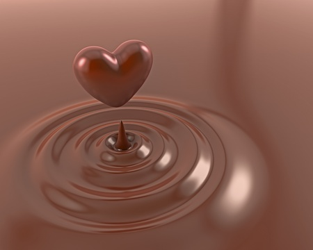 molted: Brillante coraz�n de chocolate en un chocolate caliente