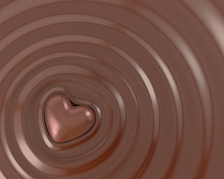 Shiny chocolate heart in a hot chocolate photo
