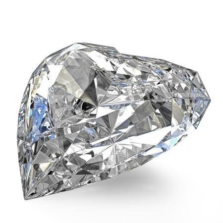 Heart shaped diamond, isolated on white background photo