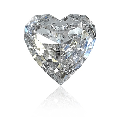 glass heart: Heart shaped diamond, isolated on white background Stock Photo
