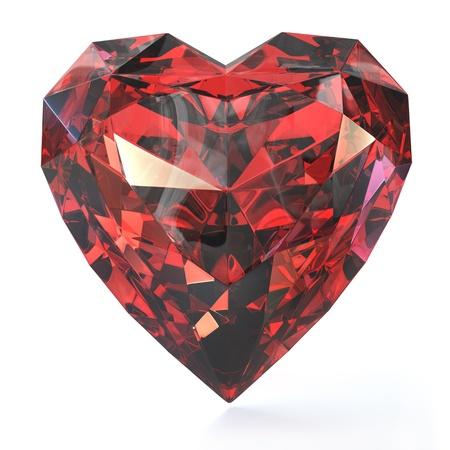 coeur diamant: Rubis en forme de coeur, isolé sur fond blanc