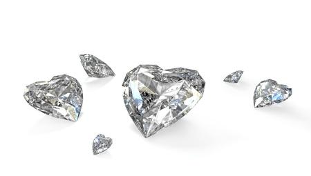 Few heart shaped diamonds, isolated on white background Stock Photo