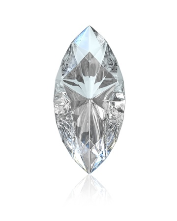 diamond shape: Marquise cut diamond, isolated on white background