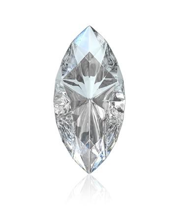 Marquise geschliffenen Diamanten, isoliert auf weißem Hintergrund Standard-Bild
